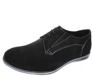 Мъжки спортно елегантни обувки естествен велур черни CFGD-20078