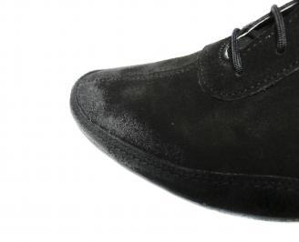 Мъжки спортно елегантни обувки естествен велур черни MKWU-20090