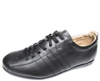 Мъжки спортно елегантни обувки естествена кожа черни JAFC-20091