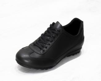 Мъжки спортно елегантни обувки естествена кожа черни YOLN-21172