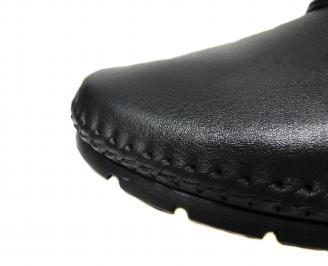 Мъжки спортно елегантни обувки естествена кожа черни GPVS-21283