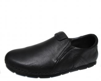 Мъжки спортно елегантни обувки естествена кожа черни OVNL-21285