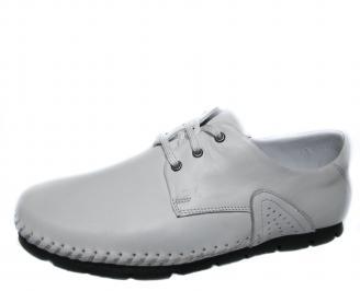 Мъжки спортно елегантни обувки естествена кожа бели ESYU-21286