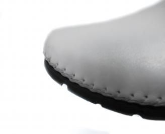 Мъжки спортно елегантни обувки естествена кожа бели RLMR-21287