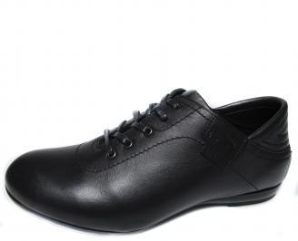 Мъжки спортно елегантни обувки естествена кожа черни FWJB-21291