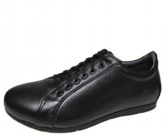Мъжки спортно елегантни обувки естествена кожа черни IYTZ-21302