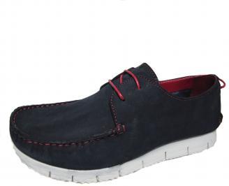 Мъжки спортно елегантни обувки тъмно сини набук EOZW-21489