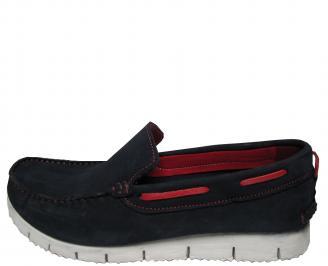 Мъжки спортно елегантни обувки черни набук KFOR-21493