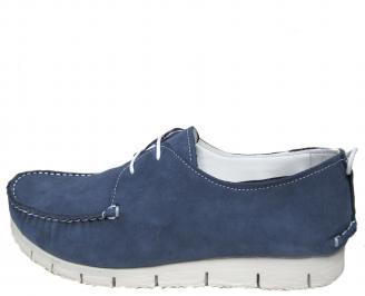 Мъжки спортно елегантни обувки набук сини NJRG-21506