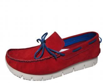 Мъжки спортно елегантни обувки набук червени PBEM-21511