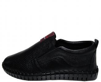 Мъжки спортно елегантни обувки естествена кожа черни MKBF-21565