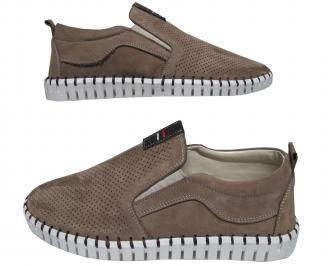 Мъжки спортно елегантни обувки набук бежови EAPR-21566