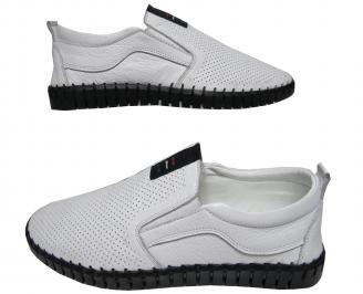 Мъжки спортно елегантни обувки естествена кожа бели NLOG-21567