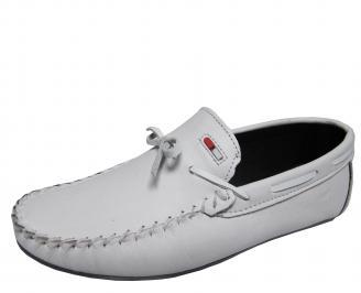 Мъжки спортно елегантни обувки естествена кожа бели EIJJ-21719