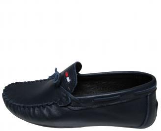 Мъжки спортно елегантни обувки естествена кожа тъмно сини OBNW-21722