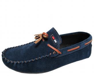 Мъжки спортно елегантни обувки велур сини OYCZ-21723