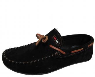 Мъжки спортно елегантни обувки набук черни CTZP-21727