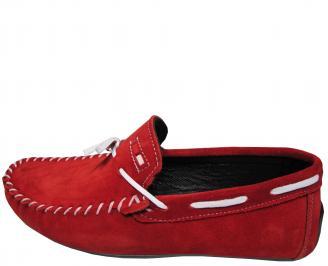 Мъжки спортно елегантни обувки велур червени VEQL-21729