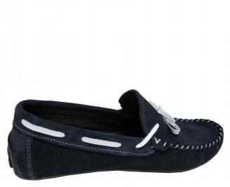 Мъжки спортно елегантни обувки велур тъмно сини LRBZ-21730