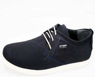 Мъжки спортно елегантни обувки набук тъмно сини KXTW-21823