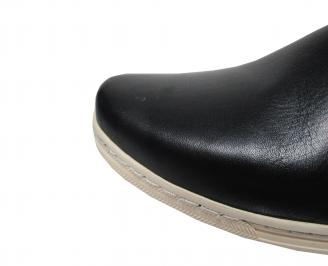 Мъжки спортно елегантни обувки естествена кожа черни CWLH-21848