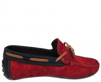 Мъжки спортно елегантни обувки велур червени HFXQ-21885