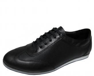 Мъжки спортно елегантни обувки естествена кожа черни UYEU-22187