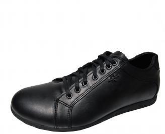 Мъжки спортно елегантни обувки естествена кожа черни XLFN-22279