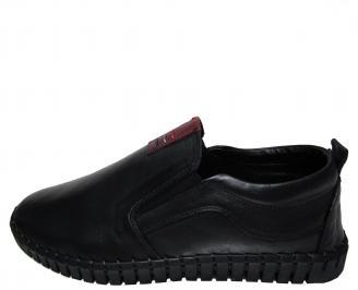 Мъжки спортно елегантни обувки естествена кожа черни ZSHP-22287