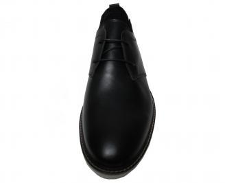 Мъжки спортно елегантни обувки естествена кожа черни DQAJ-22368