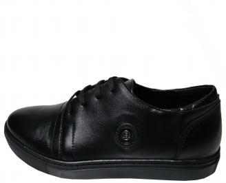 Мъжки спортно елегантни обувки естествена кожа черни LIYU-22369
