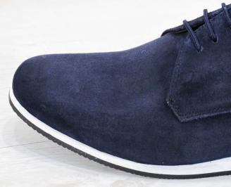 Мъжки спортно елегантни обувки естествен велур тъмно сини JCBY-23004