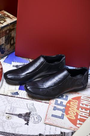 Мъжки спортно елегантни обувки черни естествена кожа EIAJ-23015