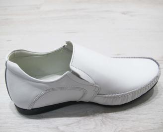 Мъжки спортно елегантни обувки естествена кожа бели CWYC-23066