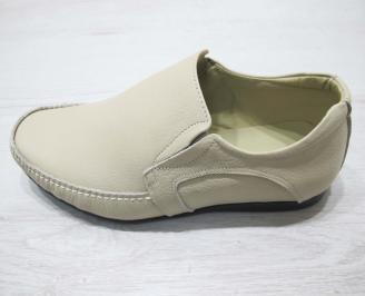 Мъжки спортно елегантни обувки естествена кожа бежови RKJP-23067