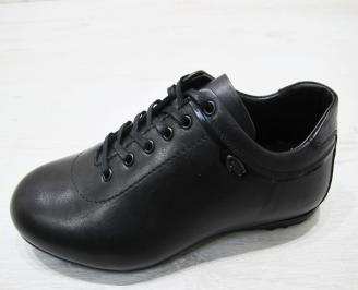 Мъжки спортно елегантни обувки естествена кожа черни JSDK-23068