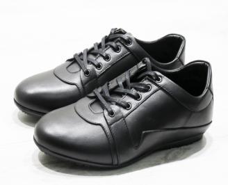 Мъжки спортно елегантни обувки естествена кожа черни MOWA-23070