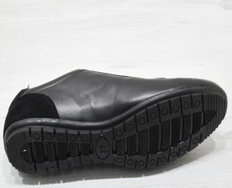 Мъжки спортно елегантни обувки естествена кожа черни YSRU-23072
