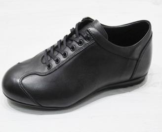 Мъжки спортно елегантни обувки естествена кожа черни AHXU-23073