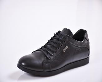 Мъжки спортно елегантни обувки естествена кожа черни TAXB-23074