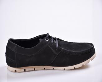 Мъжки спортно елегантни обувки естествен велур черни EMAD-23076