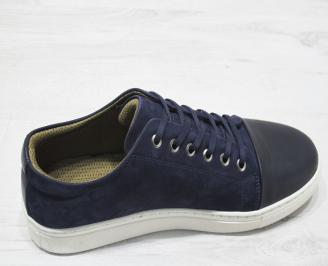 Мъжки спортно елегантни обувки естествен велур/естествена кожа тъмно с LHUI-23080
