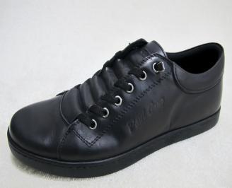 Мъжки спортно елегантни обувки естествена кожа черни LZQN-23116