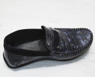 Мъжки спортно елегантни обувки естествена кожа тъмно сини FZFZ-23117