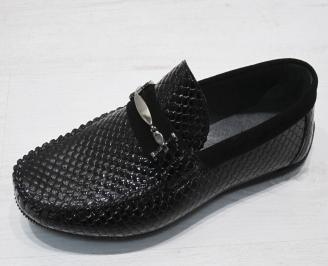 Мъжки спортно елегантни обувки естествена кожа черни FFFS-23119