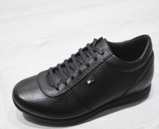 Мъжки спортно елегантни обувки естествена кожа черни FNEH-23371