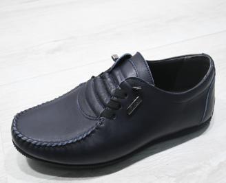 Мъжки спортно елегантни обувки естествена кожа тъмно сини SSOE-23374