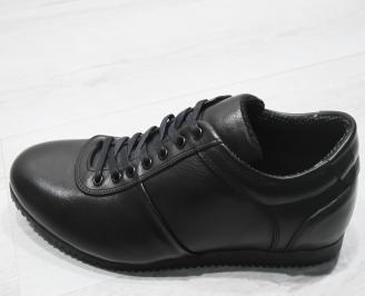 Мъжки спортно елегантни обувки естествена кожа черни CRKF-23377