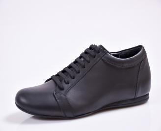 Мъжки спортно елегантни обувки естествена кожа черни FEPE-23386