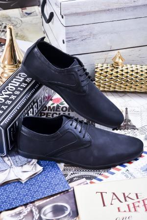 Мъжки спортно елегантни обувки естествен набук черни RWWE-23469